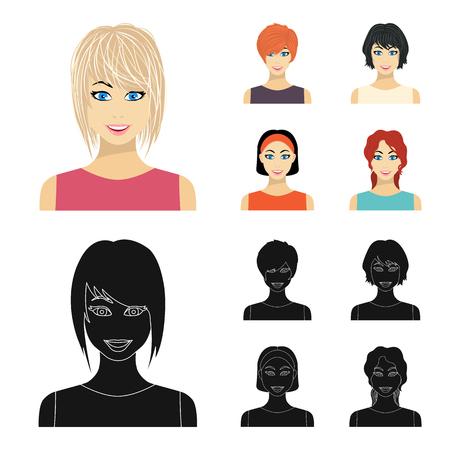 Tipos de dibujos animados de peinados femeninos, iconos negros de colección set de diseño. Apariencia de una ilustración de mujer vector símbolo stock web.
