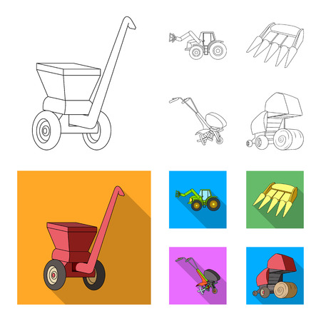 Motoblock and other agricultural devices. Agricultural machinery set collection icons in outline,flat style vector symbol stock illustration web. Illustration