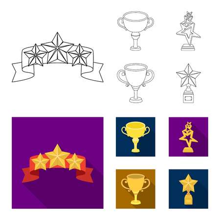 Silver cup for the second place, gold stars on the stand, a cup with a star, a gold cup.Awards and trophies set collection icons in outline,flat style vector symbol stock illustration web.