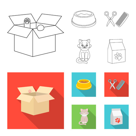 A bowl with food, a haircut for a cat, a sick cat, a package of feeds. at set collection icons in outline,flat style vector symbol stock illustration web. 向量圖像
