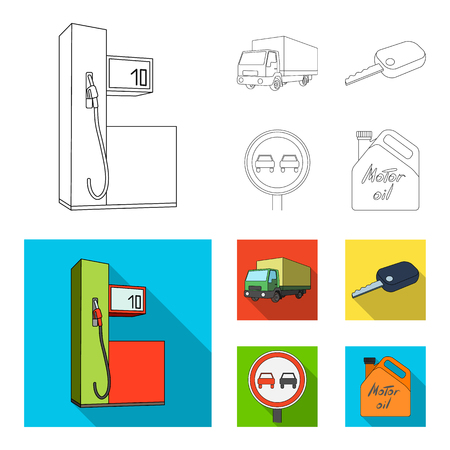 Truck with awning, ignition key, prohibitory sign, engine oil in canister, Vehicle set collection icons in outline,flat style vector symbol stock illustration web. Vettoriali