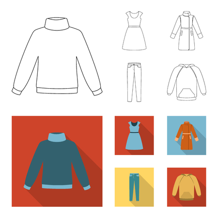 Dress with short sleeves, trousers, coats, raglan.Clothing set collection icons in outline,flat style vector symbol stock illustration web.