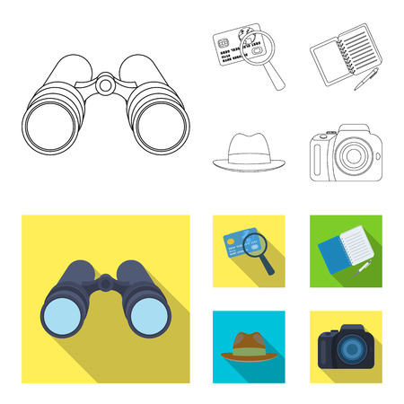 Camera, magnifier, hat, notebook with pen.Detective set collection icons in outline,flat style vector symbol stock illustration web. Illustration