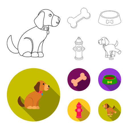 A bone, a fire hydrant, a bowl of food, a pissing dog.Dog set collection icons in outline,flat style vector symbol stock illustration web.
