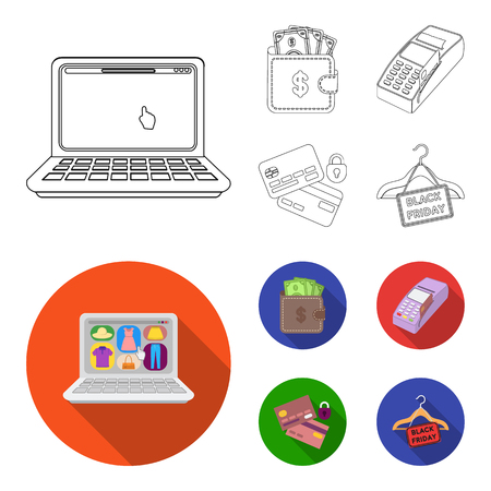 Purse, money, touch, hanger and other equipment. E commerce set collection icons in outline,flat style vector symbol stock illustration web.