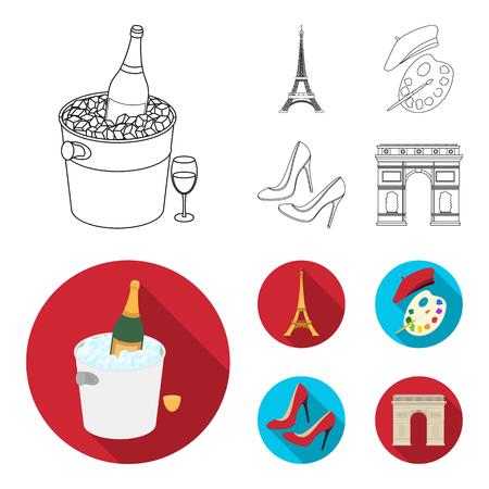 Torre Eiffel, cepillo, sombrero. Francia país establece los iconos de la colección en la web de contorno estilo vector símbolo stock de ilustración.