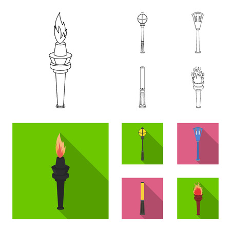 Lamppost in retro style, modern lantern, torch and other types of streetlights. Lamppost set collection icons in outline,flat style vector symbol stock illustration web.