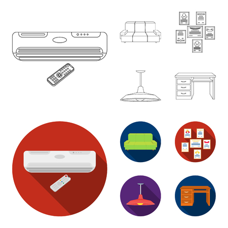 Comfortable sofa, letters and diplomas within the framework, an office ceiling lamp, a desk with drawers. Office Furniture set collection icons in outline,flat style vector symbol stock illustration web.
