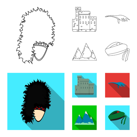 Edinburgh Castle, Loch Ness Monster, Grampian Mountains, national cap balmoral,tam o shanter. Scotland set collection icons in outline,flat style vector symbol stock illustration web. Çizim