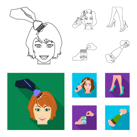 Curling hair, high heels and other web icon in outline,flat style. A pack of cigarettes, a bottle of champagne in hand icons in set collection.