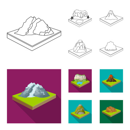 Mountains, rocks and landscape. Relief and mountains set collection icons in outline,flat style isometric vector symbol stock illustration web. Illusztráció