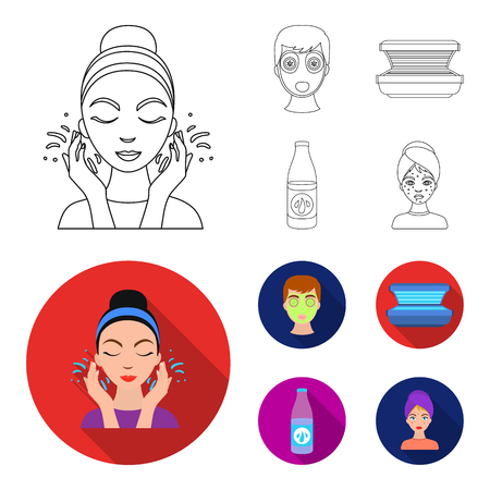 Face mask, solarium, bottle ts lasenom, pimples on face. Skin Care set collection icons in outline,flat style vector symbol stock illustration web.