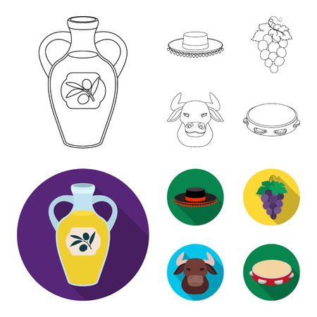 The hat of the todeador, the matador, a bunch of grapes with fists, a bull for the Spanish bullfight, a tambourine. Spain country set collection icons in outline,flat style vector symbol stock illustration web.