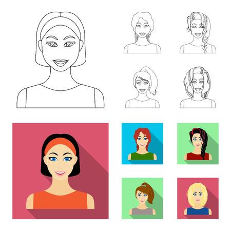 Tipos de contorno de peinados femeninos, planos iconos de colección set de diseño. Apariencia de una ilustración de mujer vector símbolo stock web.