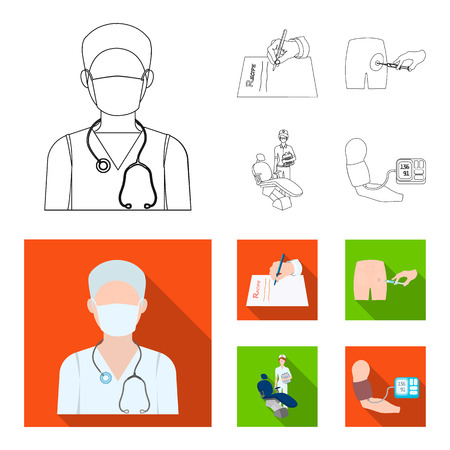 Intramuscular injection, prescription, Dentist, blood pressure measurement. Medicineset collection icons in outline,flat style vector symbol stock illustration web. Illustration