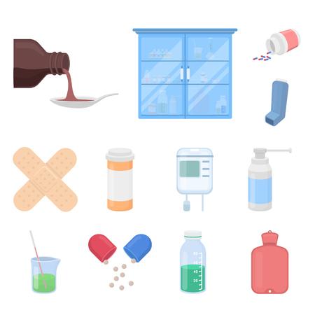Medicina y tratamiento dibujos animados iconos de colección set de diseño. Ilustración de stock de símbolo de vector de medicina y equipo.