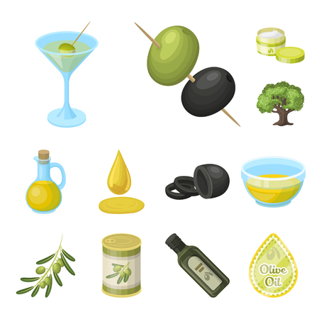 Olive, food cartoon icons in set collection for design. Olive oil, seasoning vector symbol stock web illustration. Illustration
