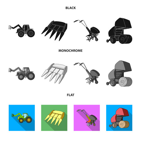 Motoblock and other agricultural devices. Agricultural machinery set collection icons in black, flat, monochrome style vector symbol stock illustration web.