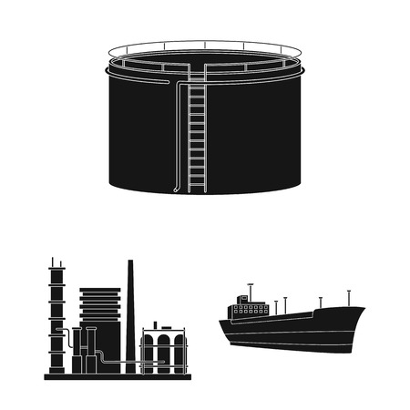 Oil industry black icons in set collection for design. Equipment and oil production vector symbol stock web illustration. Vettoriali