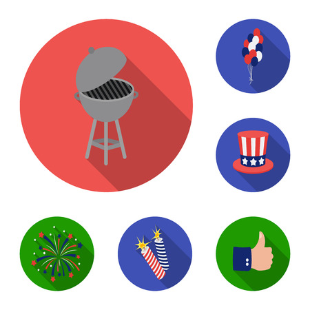 Day of Patriot, holiday flat icons in set collection for design. American tradition vector symbol stock web illustration.