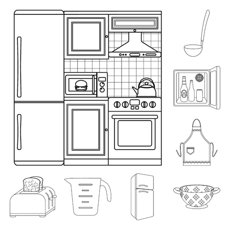 Kitchen equipment outline icons in set collection for design. Kitchen and accessories vector symbol stock web illustration.