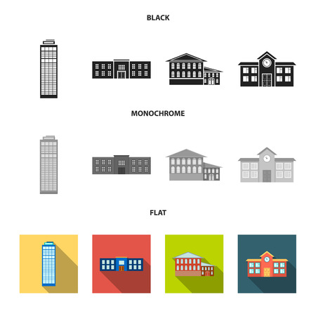 Skyscraper, police, hotel, school.Building set collection icons in black, flat, monochrome style vector symbol stock illustration web.