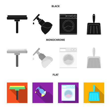Cleaning and maid black, flat, monochrome icons in set collection for design. Equipment for cleaning vector symbol stock web illustration. Stock Illustratie