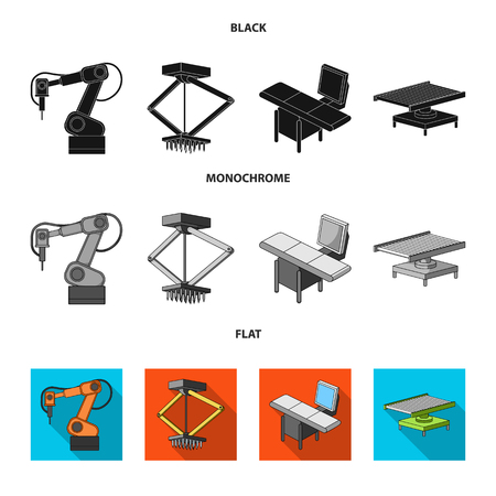 Automotive industry and other icon in black, flat, monochrome style.New technologies icons in set collection.