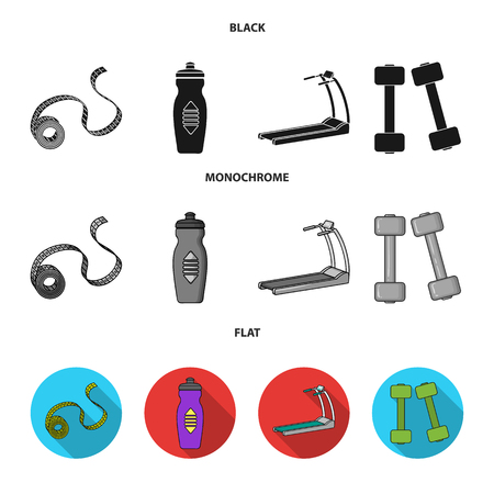 Measuring tape, water bottle, treadmill, dumbbells. Fitnes set collection icons in black, flat, monochrome style vector symbol stock illustration .