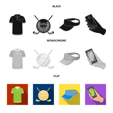 Emblema del club de golf, gorra con visera, camisa de golfista, teléfono con un navegador. Club de golf establece los iconos de la colección en negro, plano, monocromo estilo vector símbolo stock de ilustración.