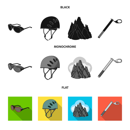 Helmet, goggles, wedge safety, peaks in the clouds.Mountaineering set collection icons in black, flat, monochrome style vector symbol stock illustration . Vector Illustration