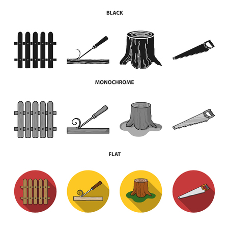 Fence, chisel, stump, hacksaw for wood. Lumber and timber set collection icons in black, flat, monochrome style vector symbol stock illustration .