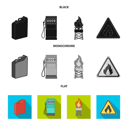 Canister for gasoline, gas station, tower, warning sign. Oil set collection icons in black, flat, monochrome style vector symbol stock illustration .
