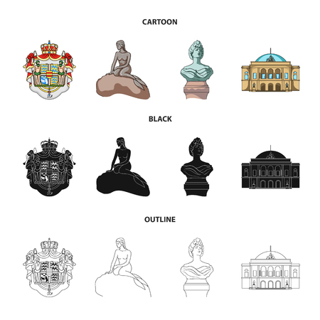 National, symbol, drawing, and other web icon in cartoon,black,outline style. Denmark, attributes, style, icons in set collection. Иллюстрация