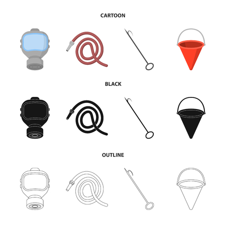 Gas mask, hose, bucket, bagore. Fire department set collection icons in cartoon,black,outline style vector symbol stock illustration web.