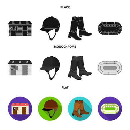 Boots, grass, stadium, track, rest .Hippodrome and horse set collection icons in black, flat, monochrome style vector symbol stock illustration .