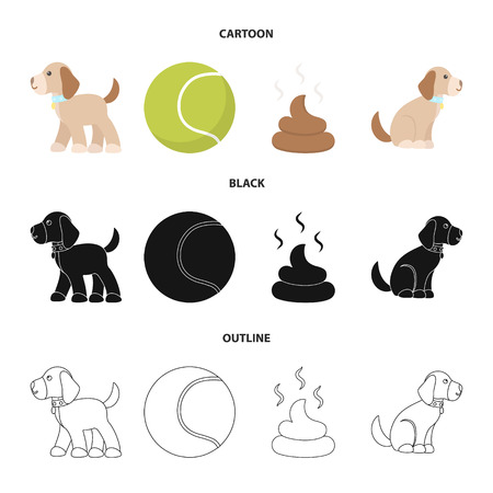 Dog sitting, dog standing, tennis ball, feces. Dog set collection icons in cartoon,black,outline style vector symbol stock illustration web.