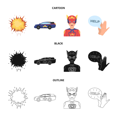 Explosion, fire, smoke and other web icon in cartoon,black,outline style.Superman, superforce, cry, icons in set collection. Illustration