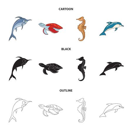 Merlín, tortugas y otras especies. Los animales marinos establecen los iconos de la colección en dibujos animados, negro, estilo de esquema símbolo ilustración vectorial de stock.