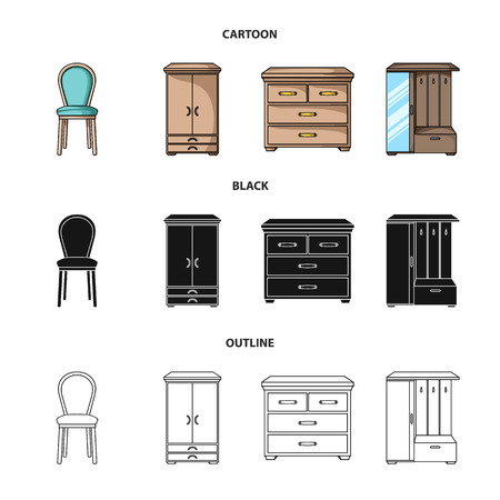 Armchair, cabinet, bedside, table .Furniture and home interiorset collection icons in cartoon,black,outline style vector symbol stock illustration .