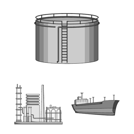 Oil industry monochrome icons in set collection for design. Equipment and oil production vector symbol stock web illustration. Vettoriali
