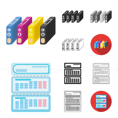 Typographical products cartoon,black,flat,monochrome,outline icons in set collection for design. Printing and equipment vector symbol stock web illustration.