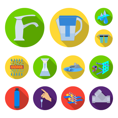 Water filtration system flat icons in set collection for design. Cleaning equipment vector symbol stock  illustration. Illustration