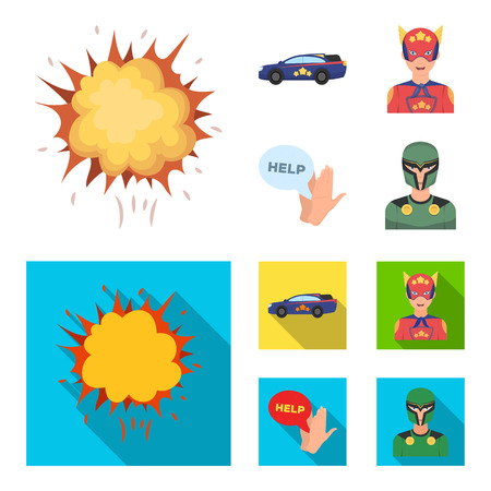 Explosion, fire, smoke and other web icon in cartoon,flat style.Superman, superforce, cry, icons in set collection.