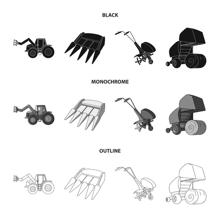 Motoblock and other agricultural devices. Agricultural machinery set collection icons in black,monochrome,outline style vector symbol stock illustration web.