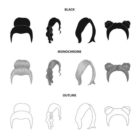 束、赤い波状と髪の他のタイプのブロンド。バックヘアセットコレクションアイコン黒、モノクロ、アウトラインスタイルベクトルシンボルストックイラストウェブ。