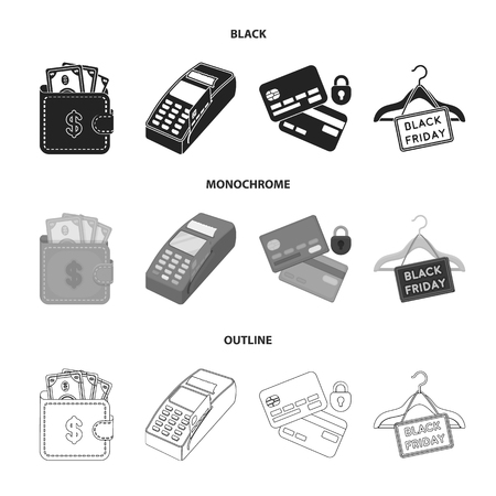 Purse, money, touch, hanger and other equipment. E commerce set collection icons in black,monochrome,outline style vector symbol stock illustration web.