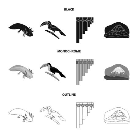 Sampono Mexican musical instrument, a bird with a long beak, Orizaba is the highest mountain in Mexico, axolotl is a rare animal. Mexico country set collection icons in black,monochrome,outline style vector symbol stock illustration web. Stock Photo