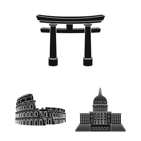 Sights of different countries black icons in set collection for design. Famous building vector symbol stock web illustration. Banco de Imagens