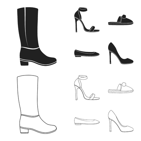 Blue high-heeled sandals, homemade lilac slippers with a pampon, pink women ballet flats, brown high-heeled shoes. Shoes set collection icons in black,outline style vector symbol stock illustration web.